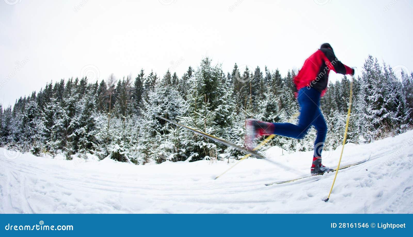 Катание на лыжах молодого человека вездеходное на снежной тропке пущи