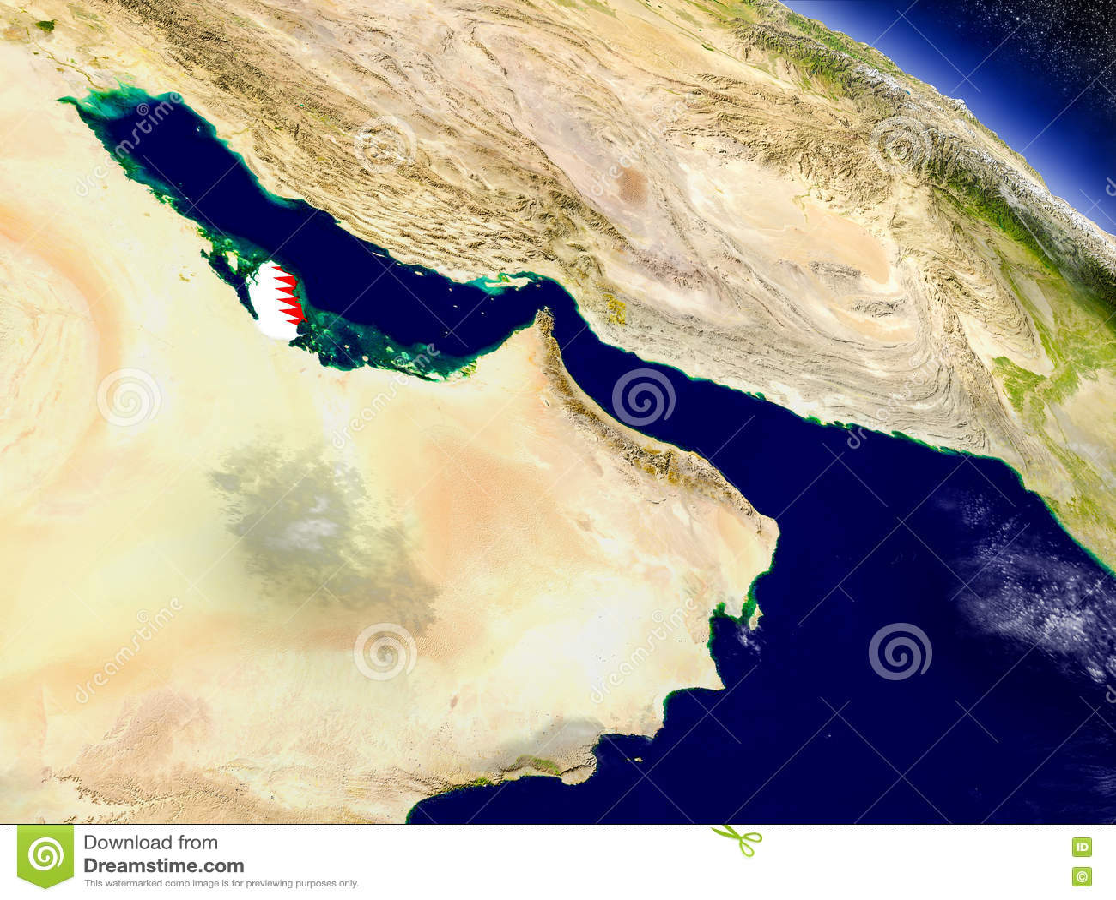 Катар с врезанным флагом на земле