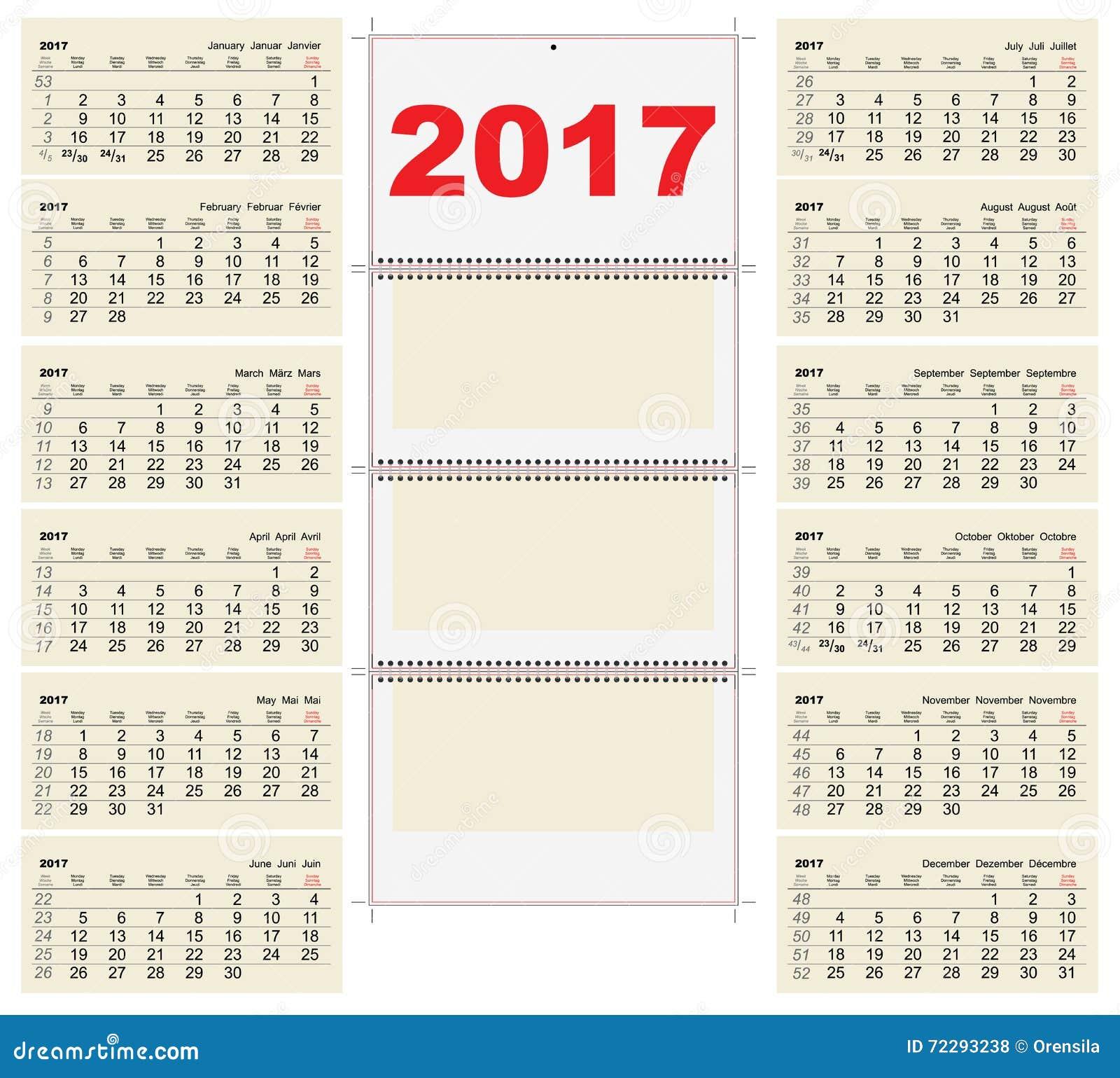 Download Календарь стены 2017 решетки шаблона Первый день понедельник Иллюстрация вектора - иллюстрации насчитывающей марш, дело: 72293238