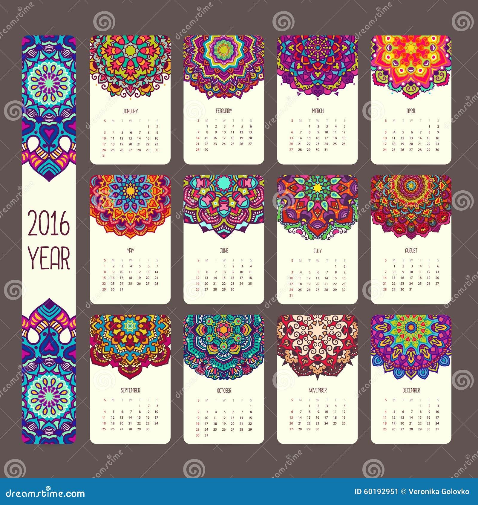 Календарь 2016 с мандалами