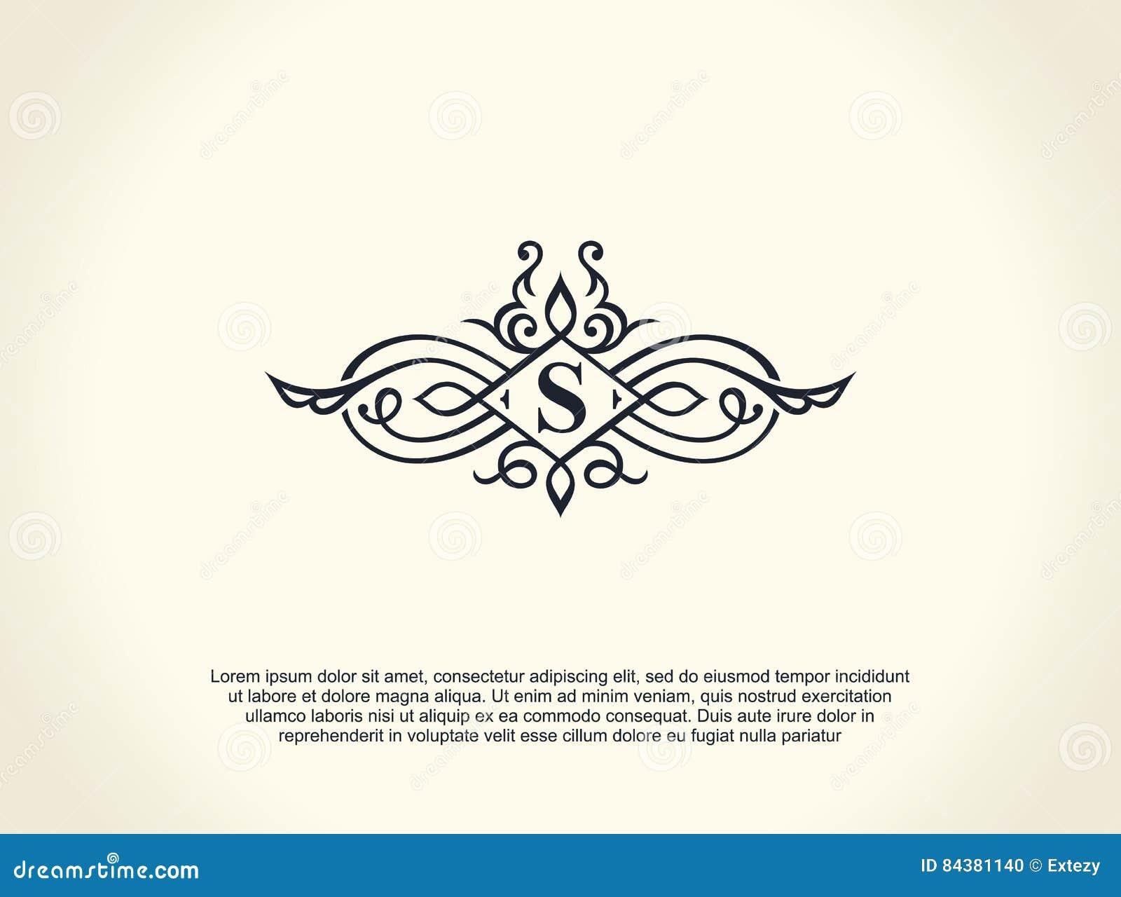 Каллиграфическая роскошная линия логотип Расцветает элегантный вензель эмблемы Королевский винтажный дизайн рассекателя
