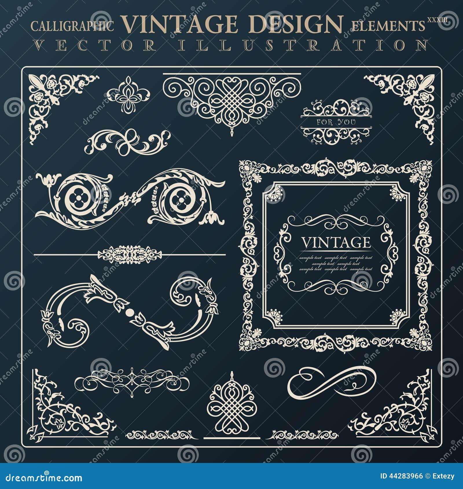 Каллиграфический орнамент года сбора винограда элементов дизайна Deco рамки вектора