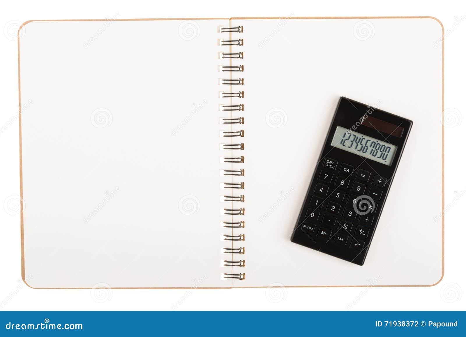 Калькулятор на книге с спиральным проводом