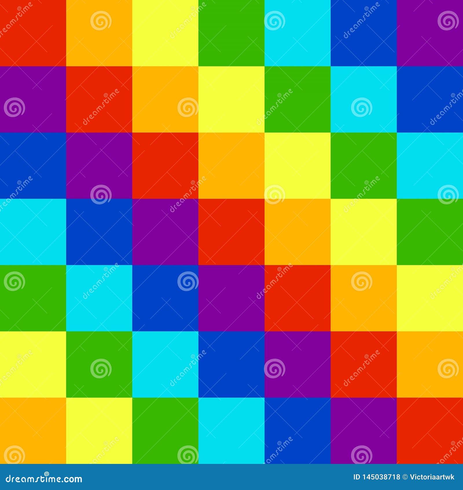 Квадраты кубов цветов радуги
