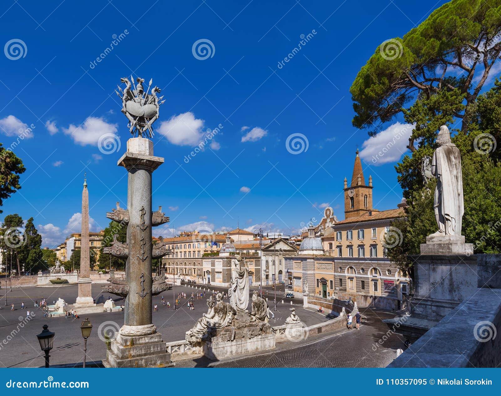 Квадрат Аркада del Popolo в Риме Италии