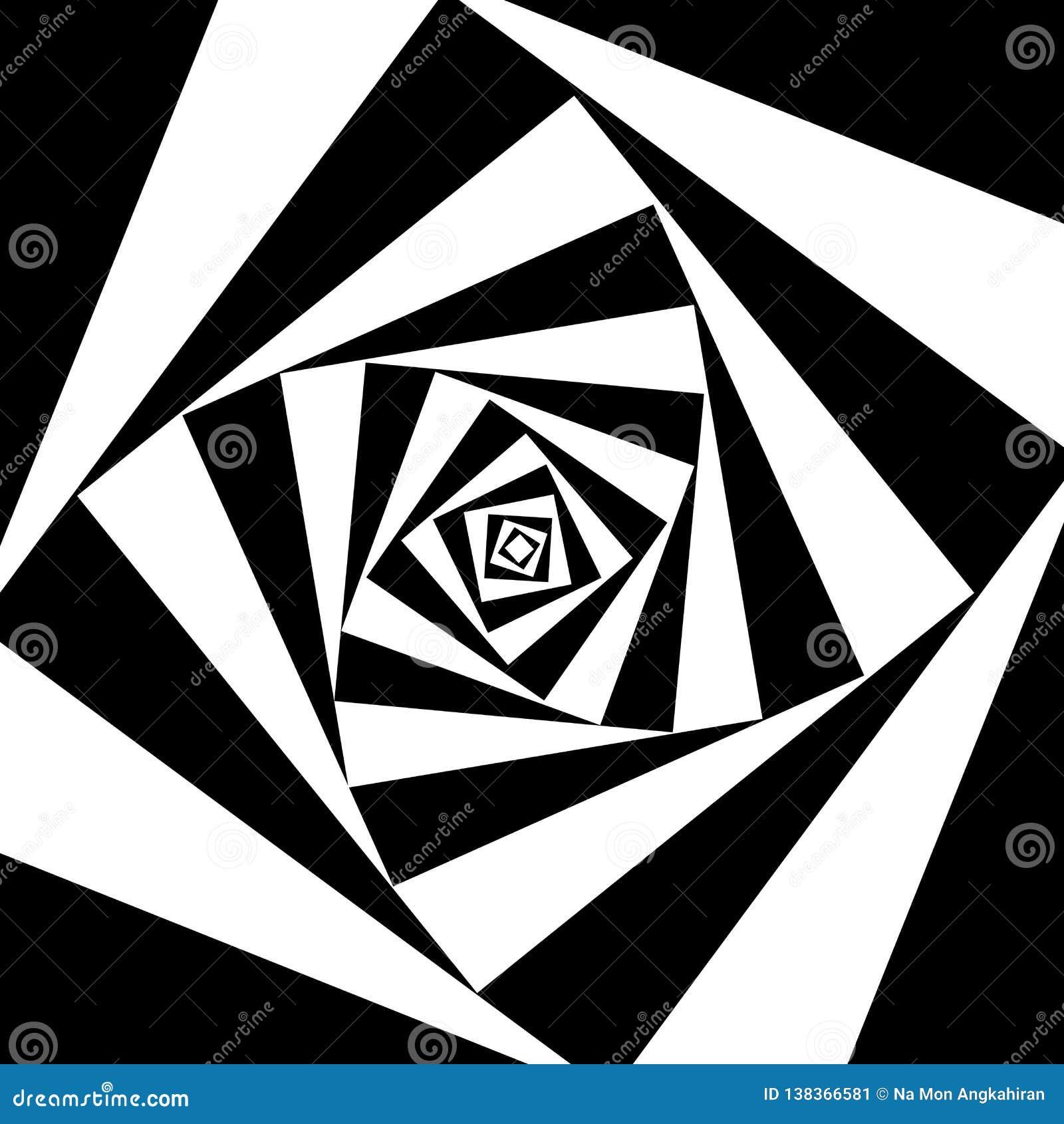 Квадрат поворачивает черно-белую абстрактную предпосылку