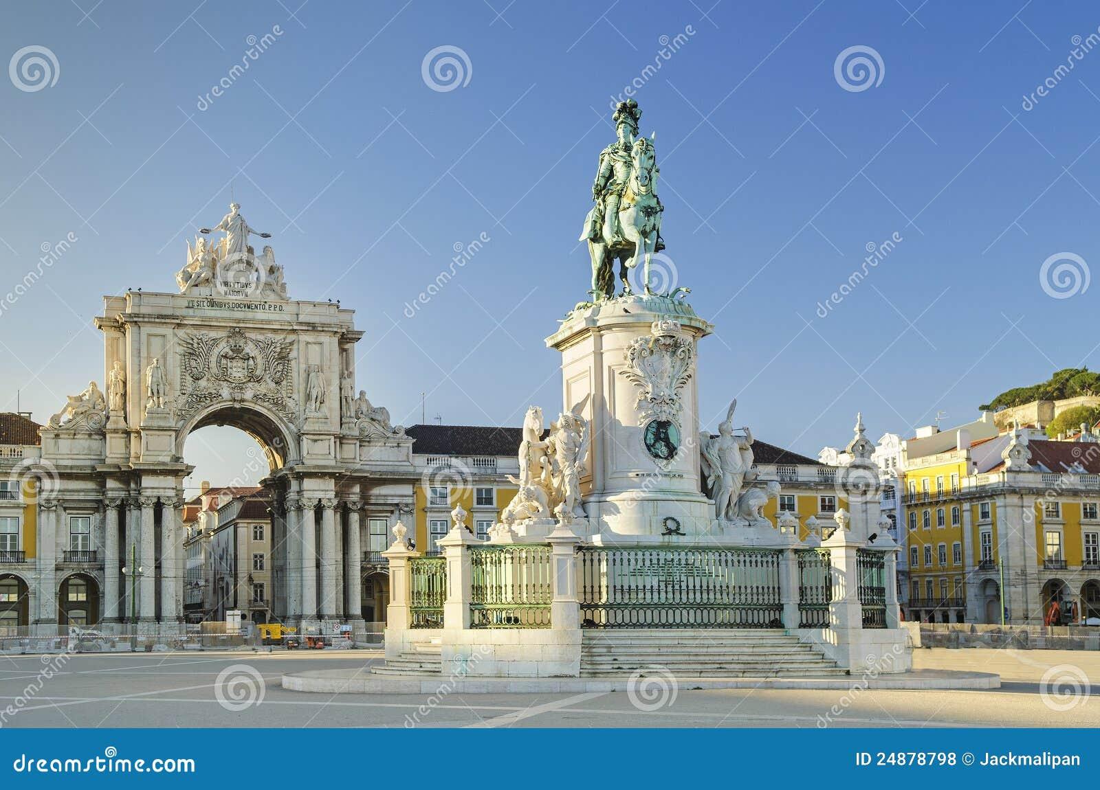 квадрат praca lisbon Португалии comercio