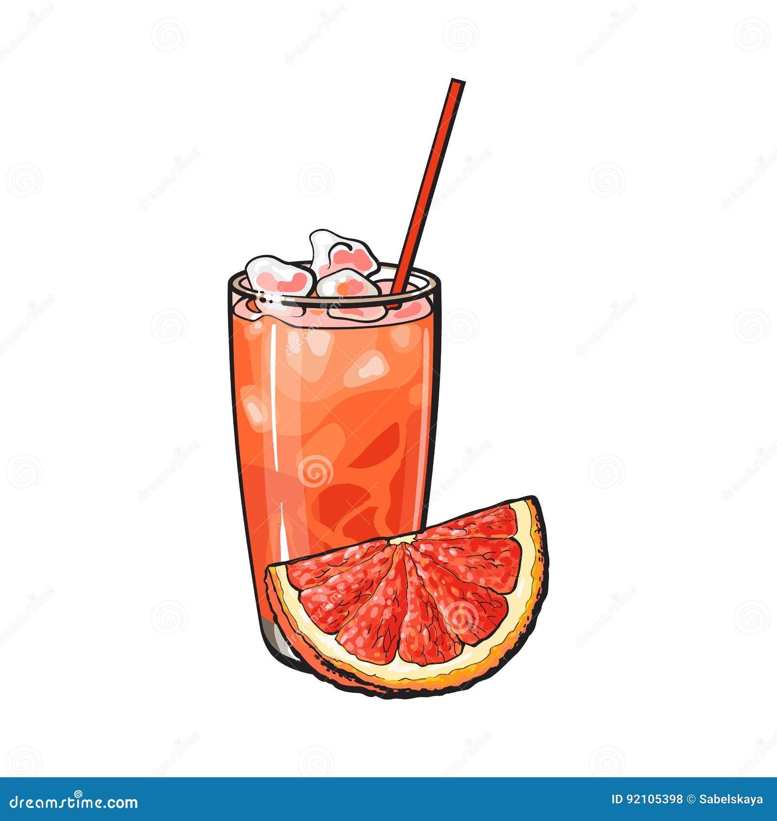 Квартал грейпфрута и стекло свеже сжиманного сока с льдом