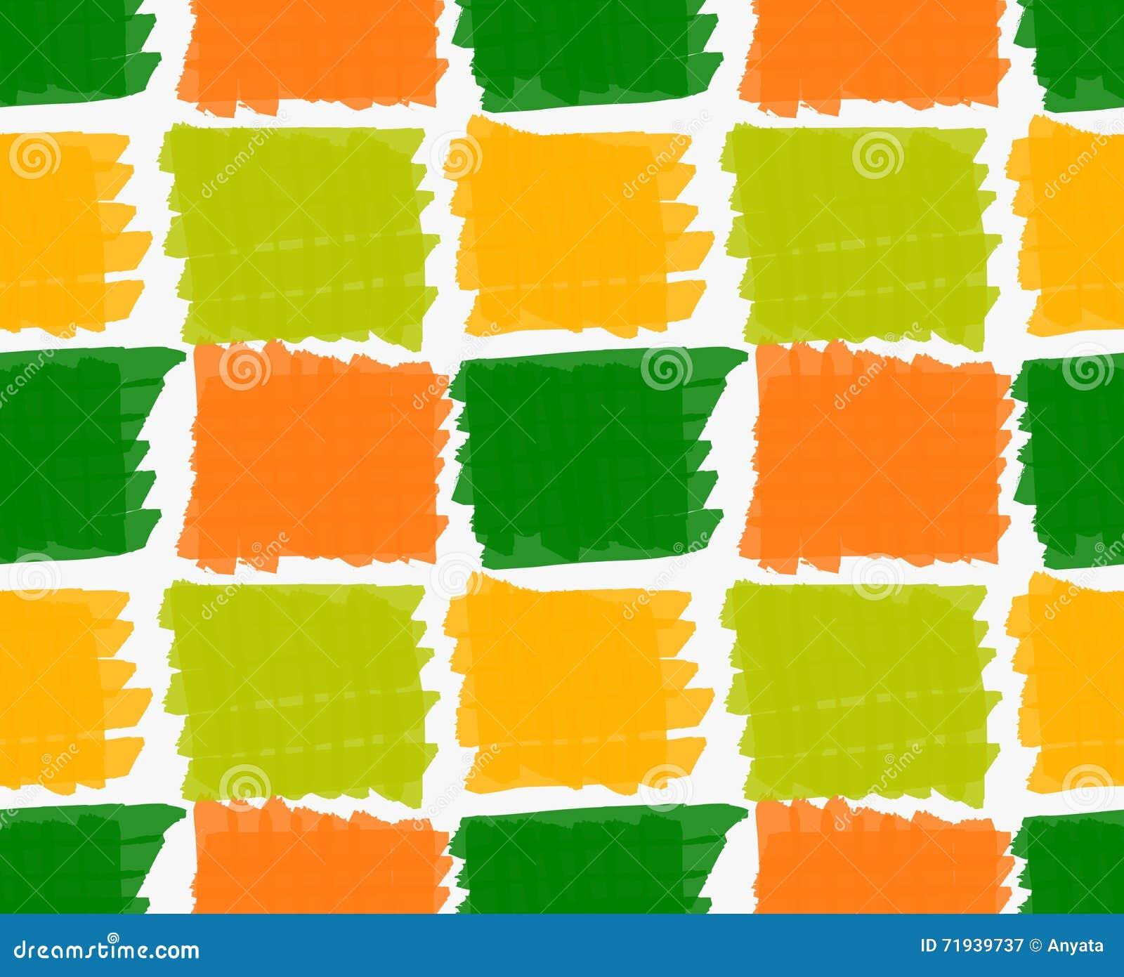 Квадраты нарисованные отметкой насиженные зеленые и оранжевые