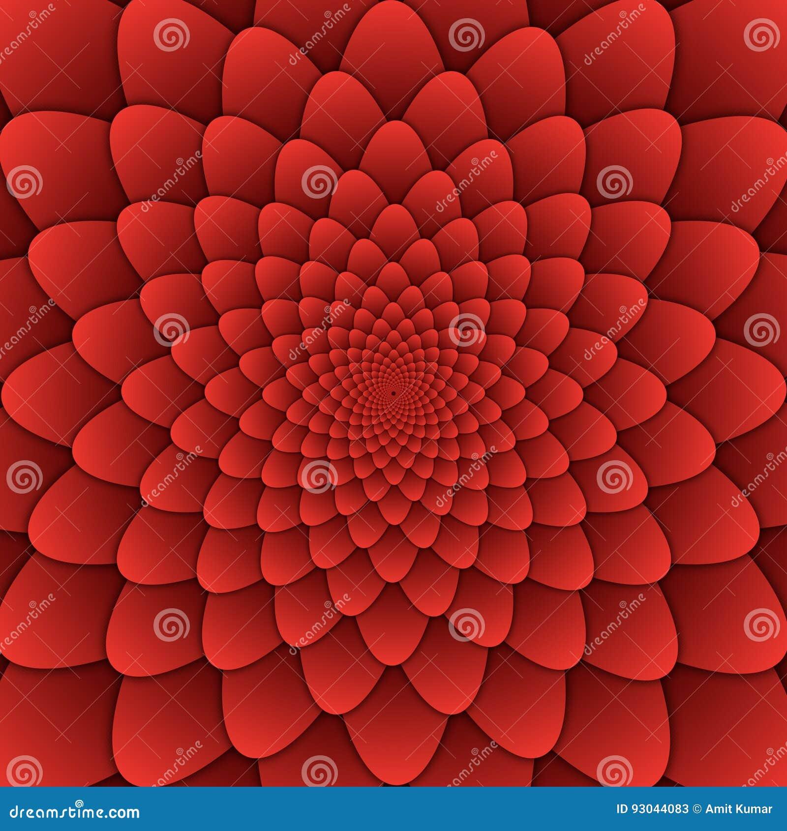 Квадрат предпосылки декоративной картины мандалы цветка конспекта искусства иллюзии красный