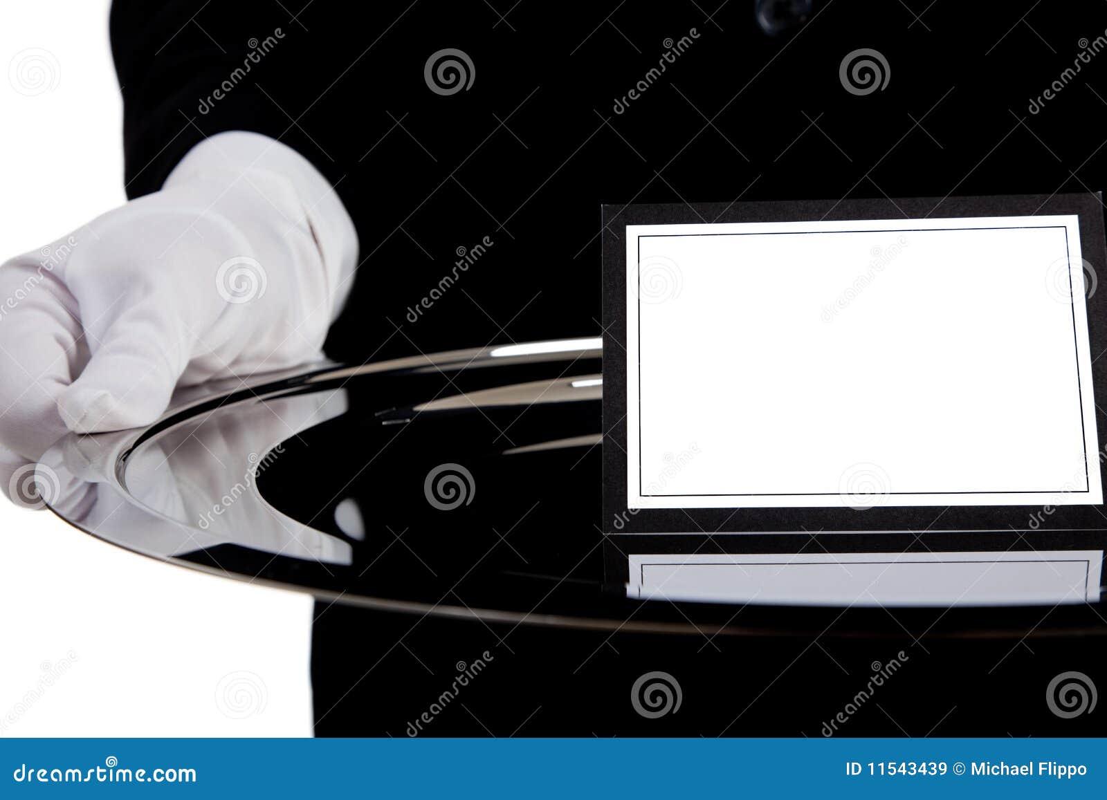 кельнер подноса серебра пустой карточки