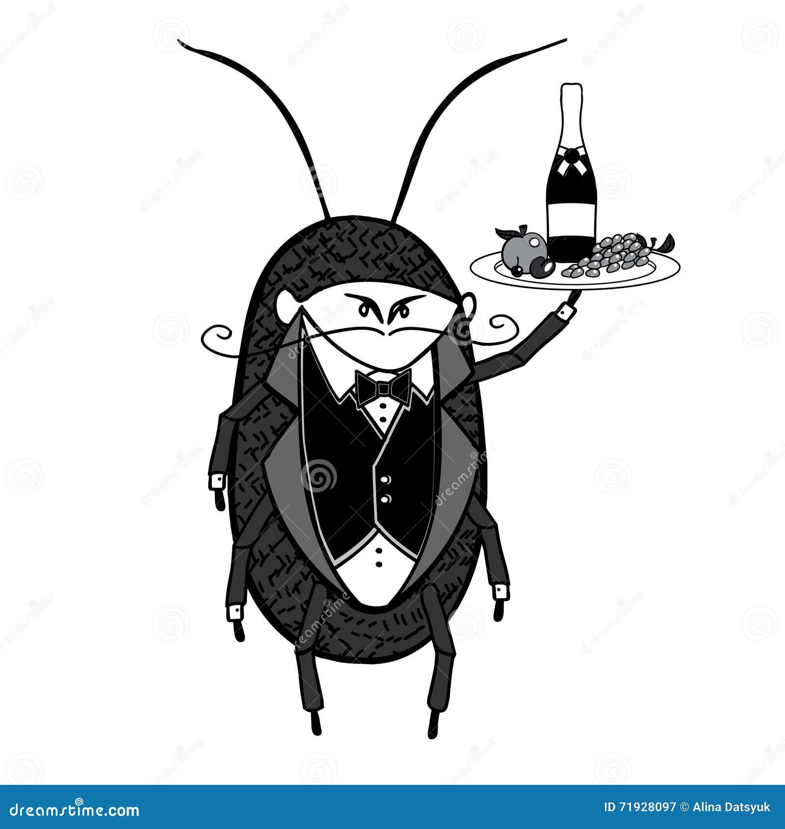 Кельнер таракана Приветствующий стилизованный характер кельнера держа диск сервировки