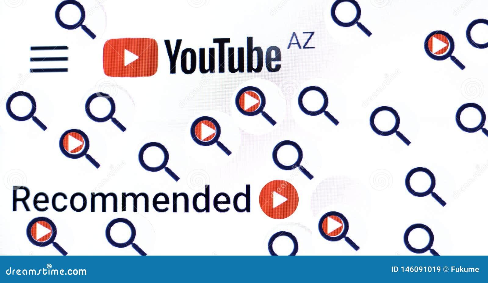Киев Украина 04 26 2019: Логотип Youtube, видео Youtube товарного знака видео- хозяйничая Насладитесь видео и музыкой o