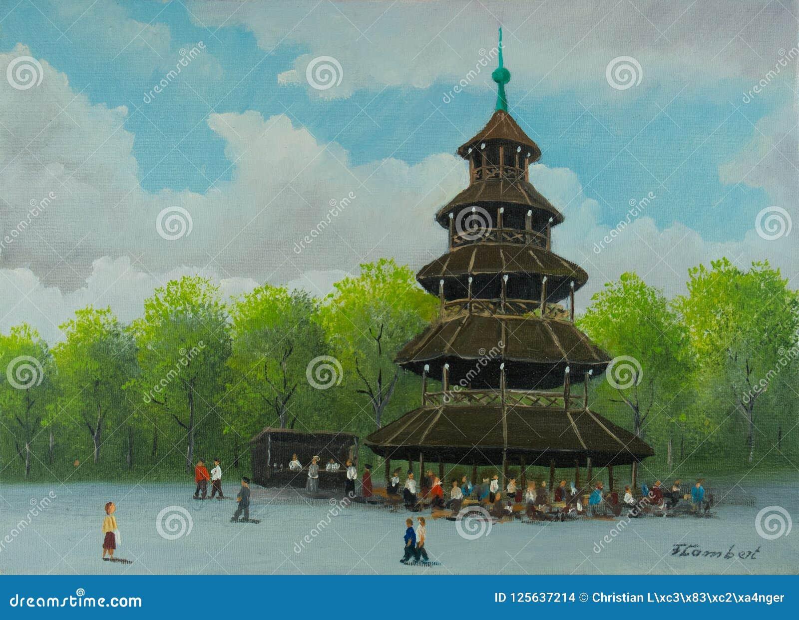 Китайская башня в английском саде в Мюнхене