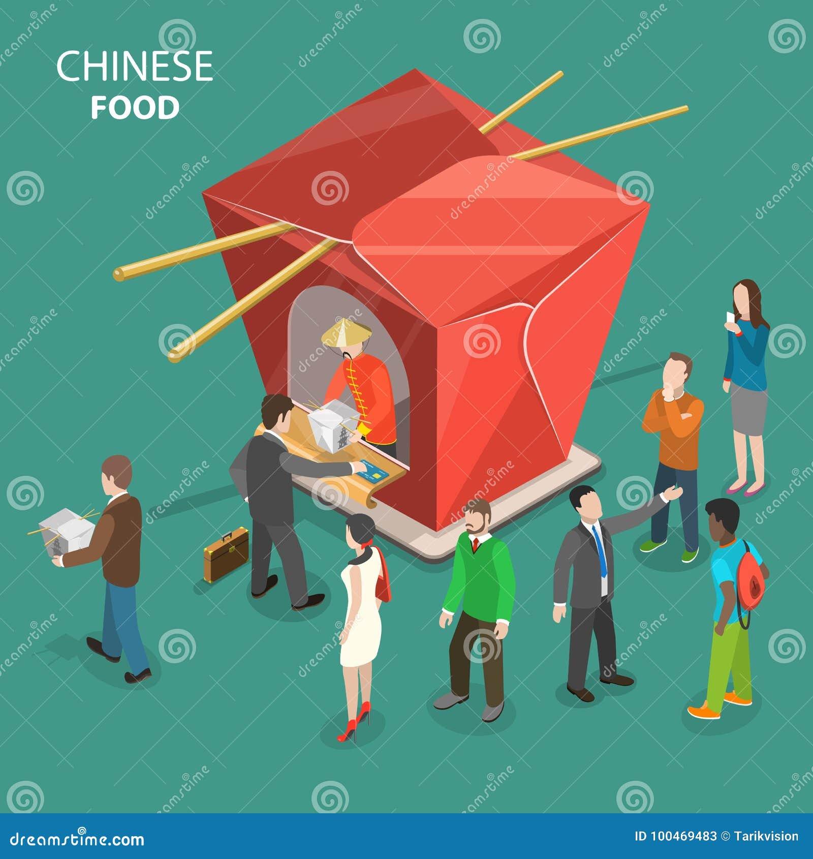 Китайская концепция вектора еды плоско равновеликая низкая поли