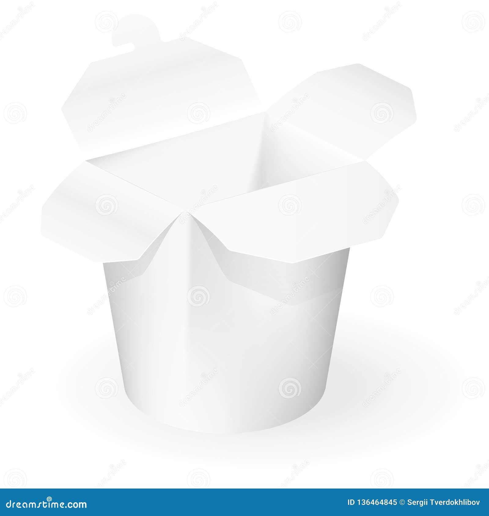 Китайская коробка взятия-вне ресторана Насмешка вверх по шаблону готовому для вашего дизайна белизна cogwheel предпосылки изолиро