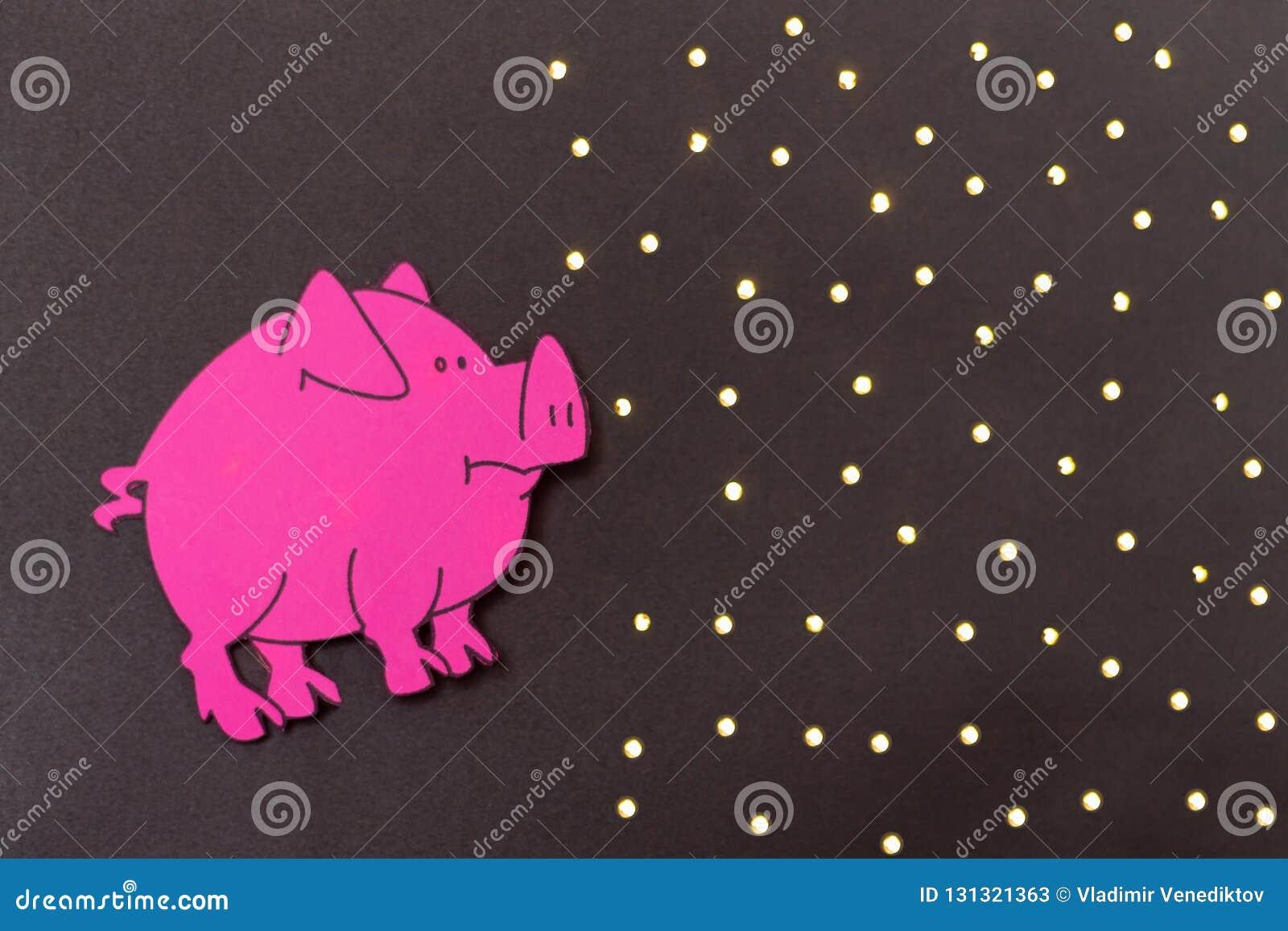 Китайский год знака зодиака свиньи, свинья отрезка бумаги пинка, С Новым Годом! 2019 год Черная предпосылка
