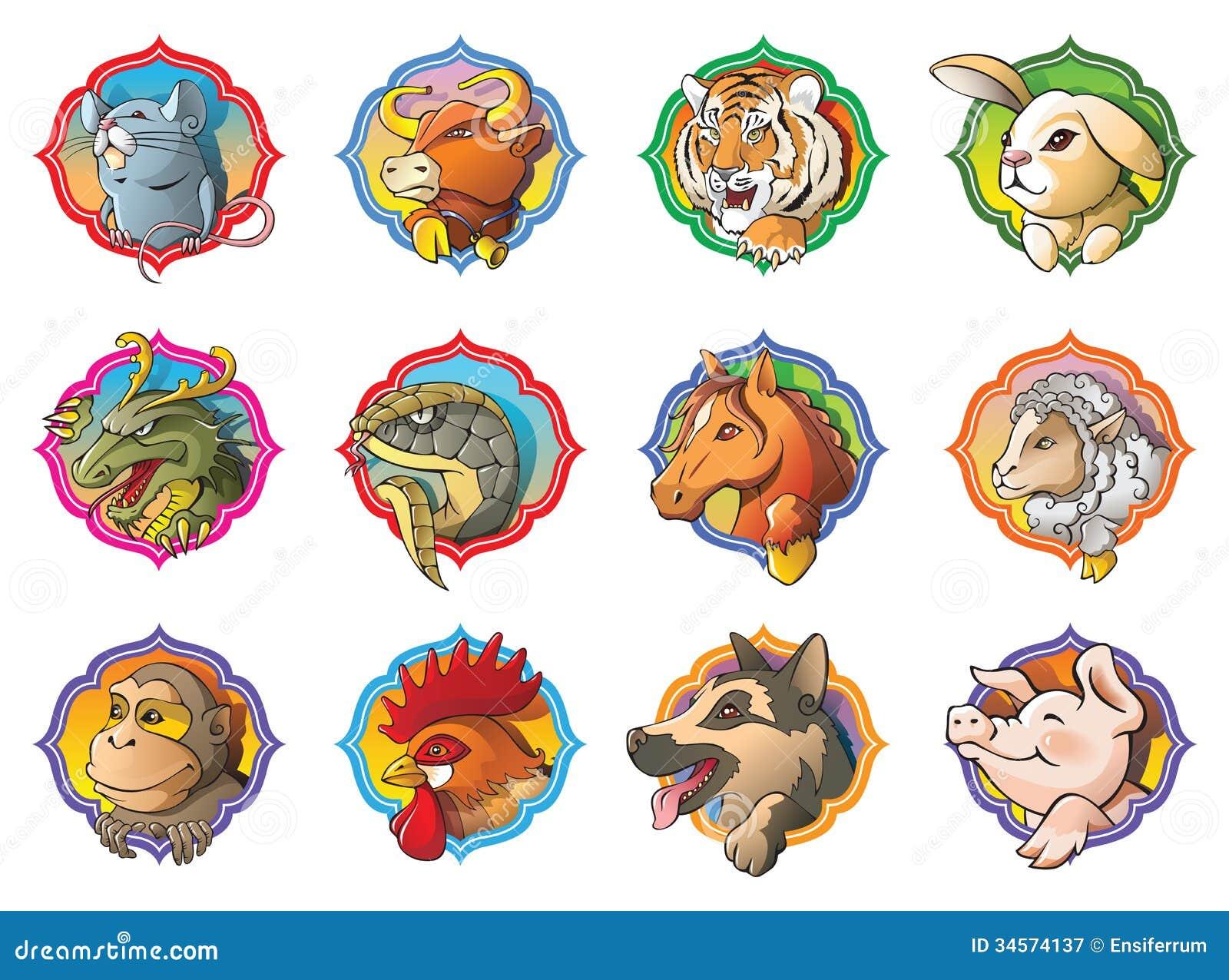 рисунки животных восточного гороскопа еще особенно
