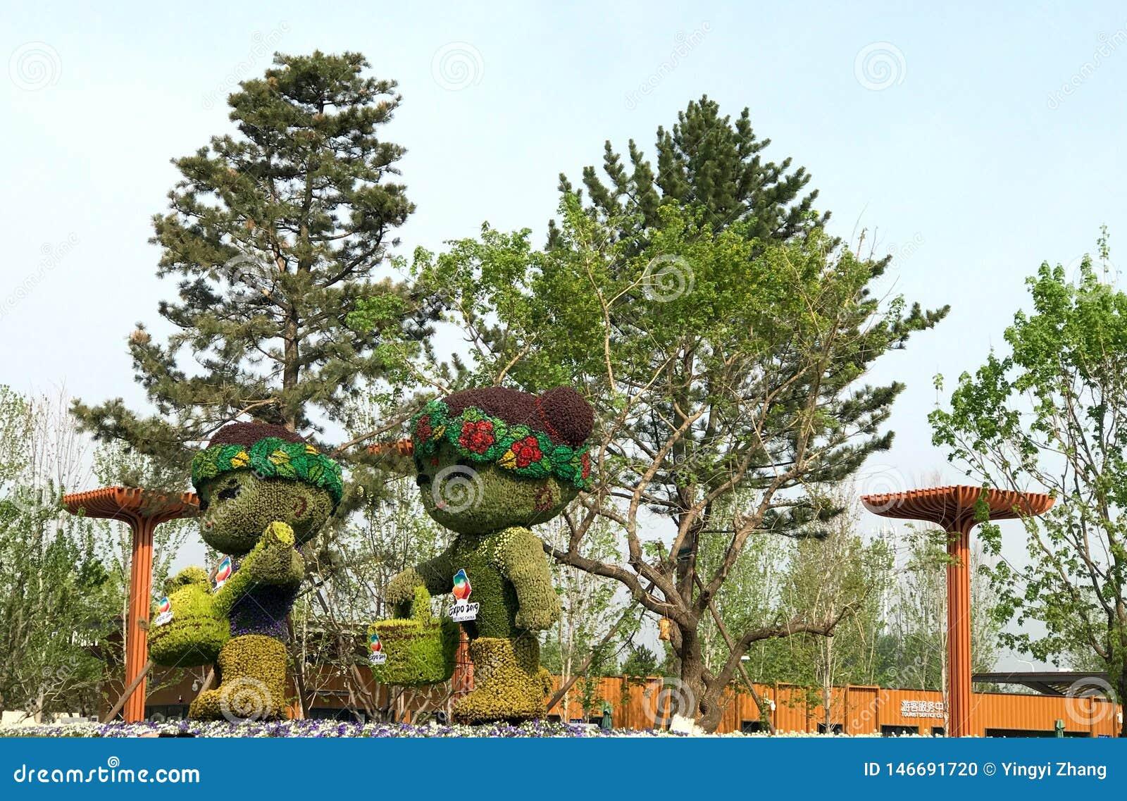 Китайский классический сад, китайские архитектуры, китайская культура, экспозиция 2019 Пекин международная садовническая