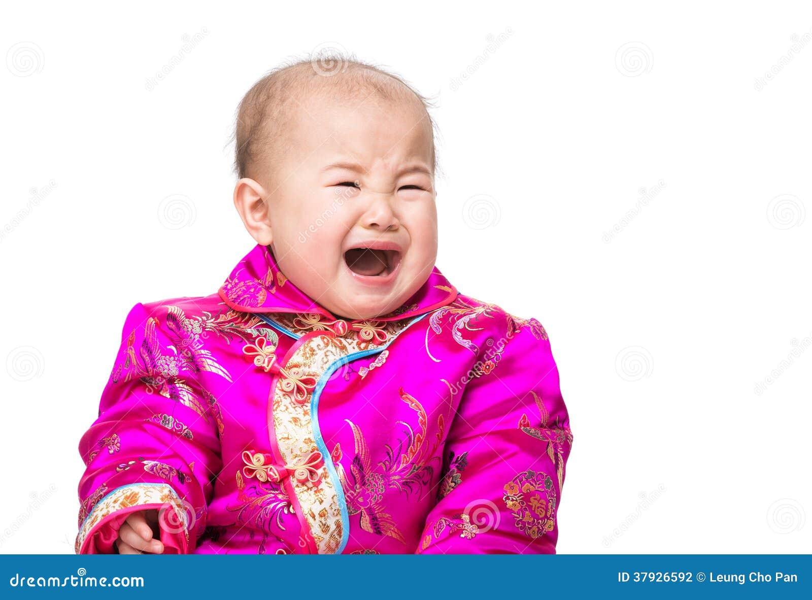 Китайский младенец плача с традиционным костюмом