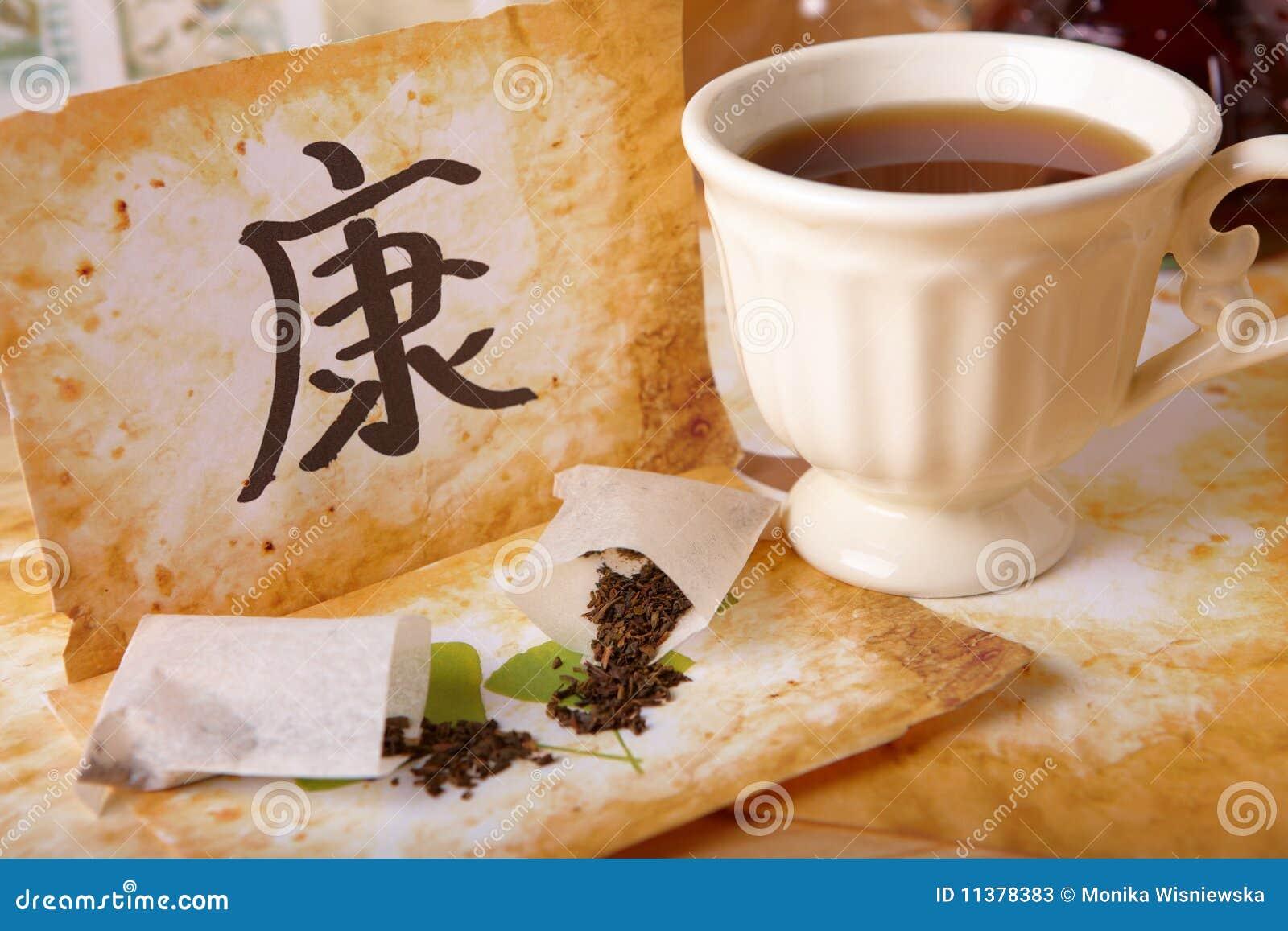 китайским чай символа чашки разбросанный здоровьем