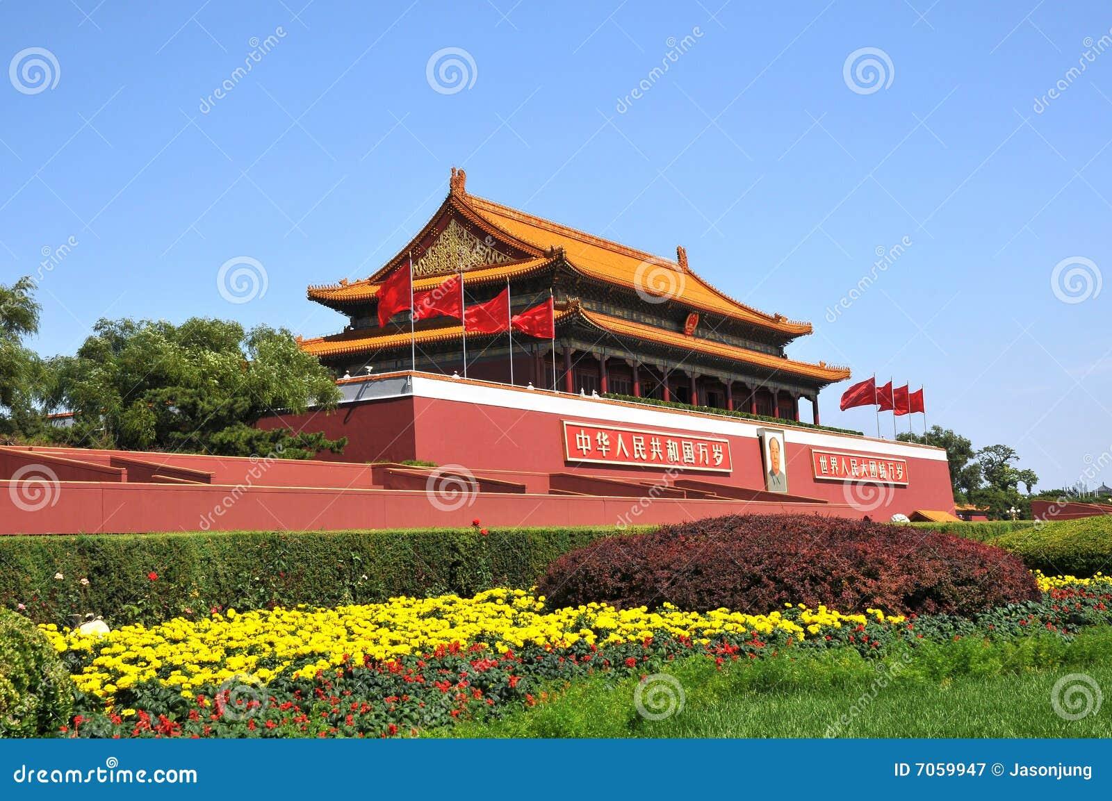 Китайское стародедовское здание строба TianAnMen