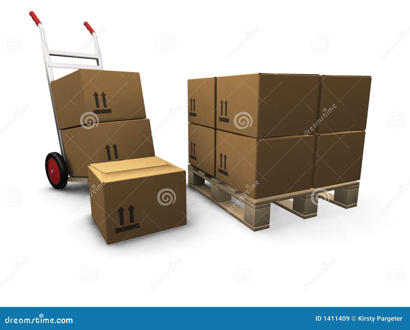 кладет ручную тележку в коробку