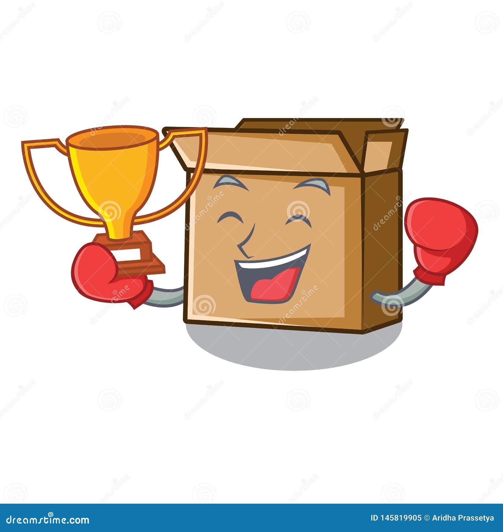 Кладя в коробку картон мультфильма победителя помещенный рядом со стулом