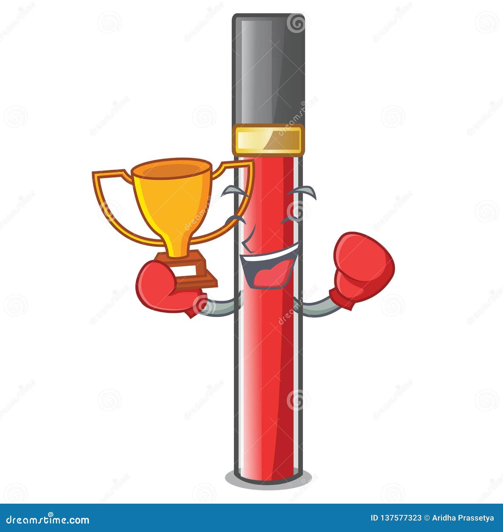 Кладя в коробку лоск губы победителя над таблицей макияжа мультфильма
