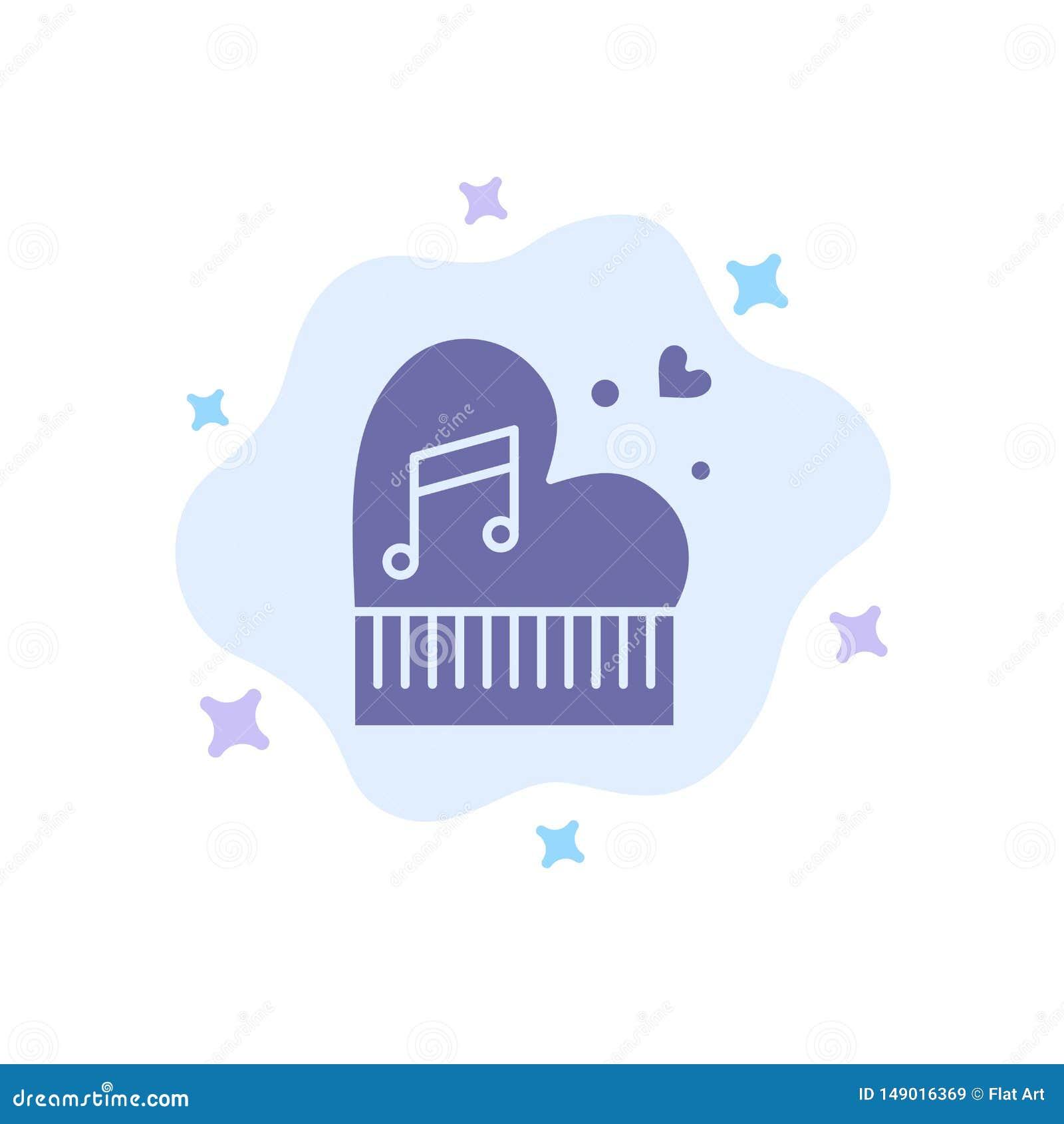 Классика, любовь, замужество, страсть, рояль, Валентайн, значок свадьбы голубой на абстрактной предпосылке облака