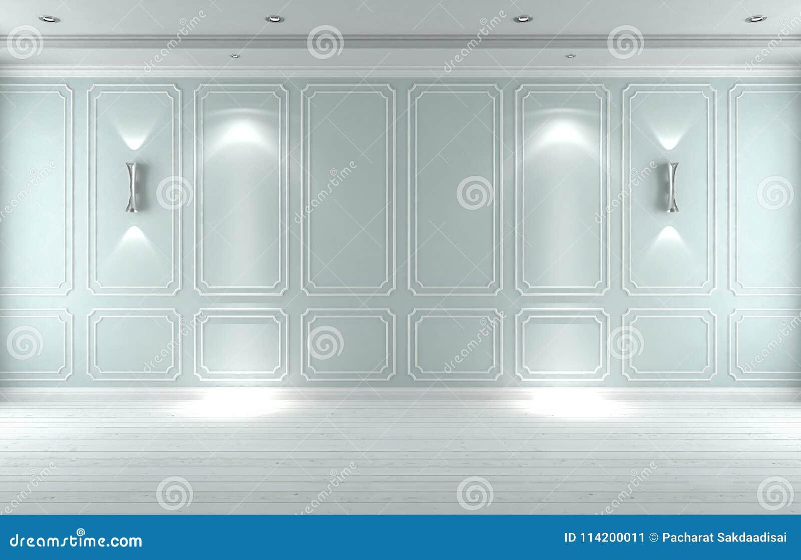 Классика пустой белой голубой студии внутренняя, 3D представляет illustrat 3D