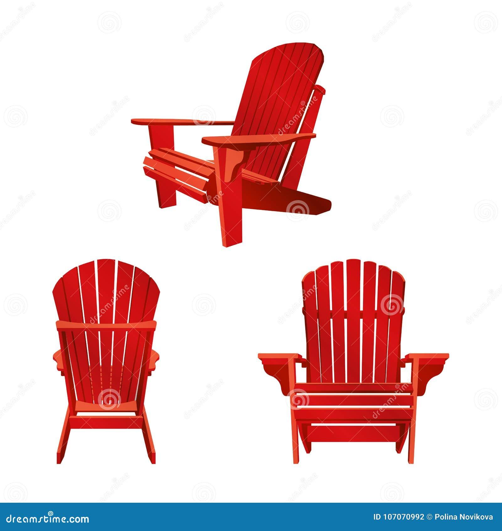 Классический деревянный внешний стул покрашенный в красном цвете Комплект мебели сада в стиле adirondack