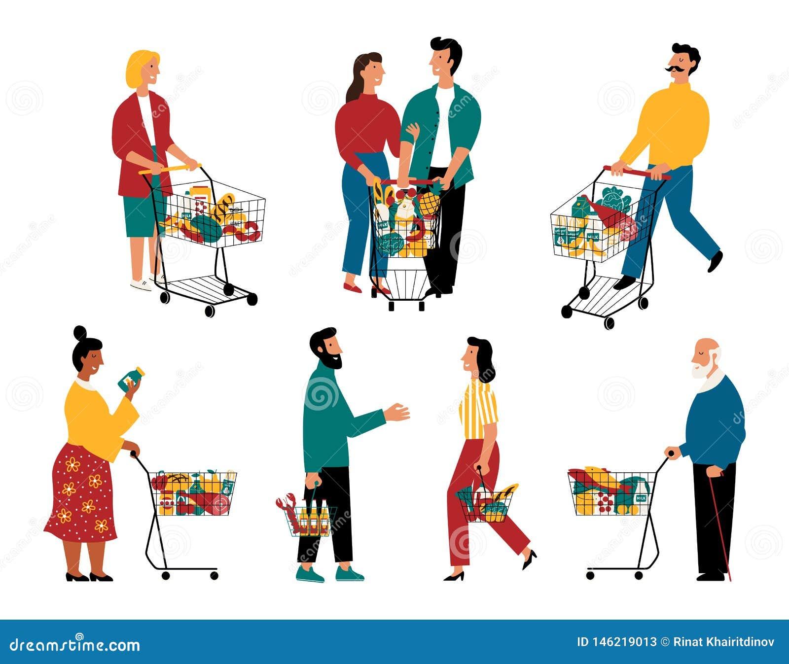 Клиенты супермаркета, персонажи из мультфильма Люди и женщины с корзинами на гастрономе r