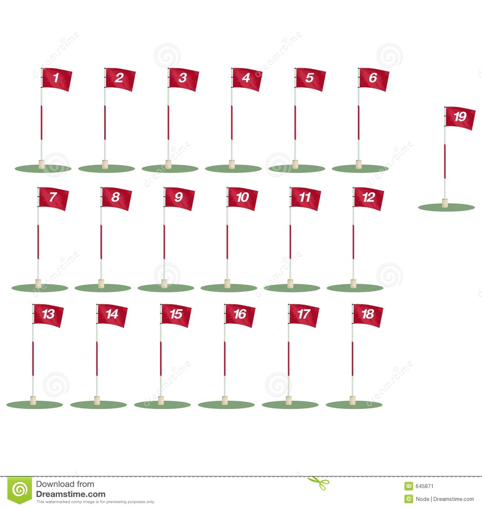Download клиппирование Flags путь гольфа Иллюстрация штока - иллюстрации насчитывающей иллюстрация, флаг: 645871