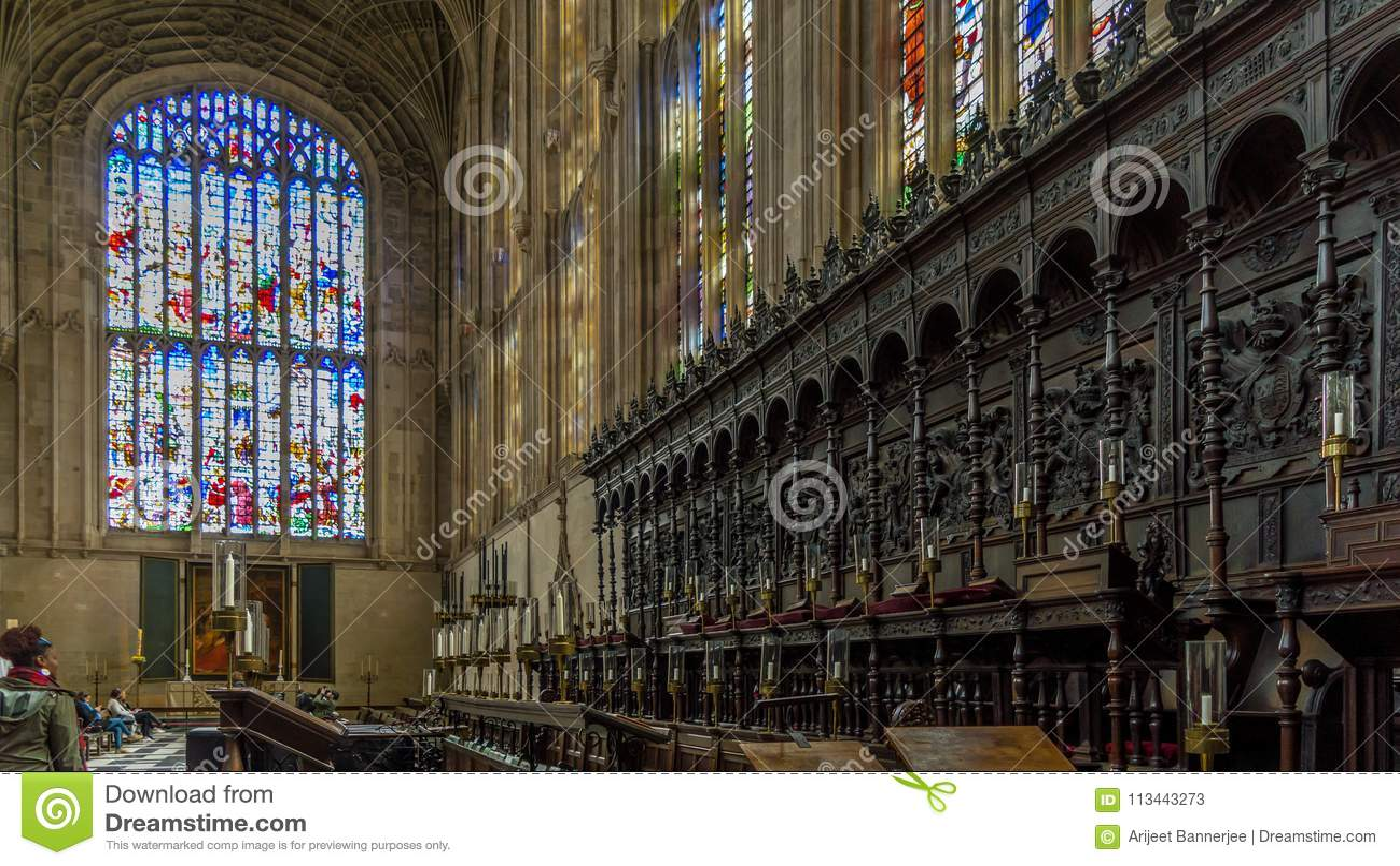 Клирос внутри часовни коллежа ` s короля, Кембриджа, Cambridgeshire