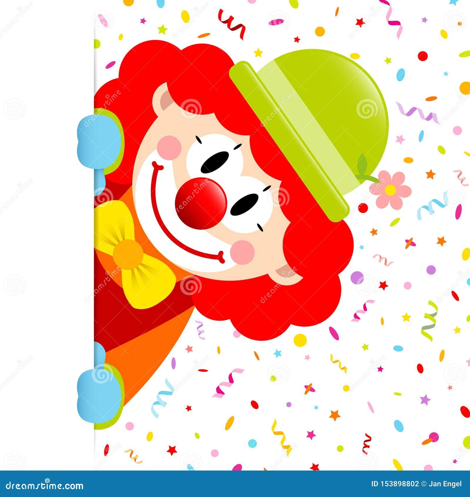 Клоун с лентами и Confetti красного знамени волос вертикального правыми