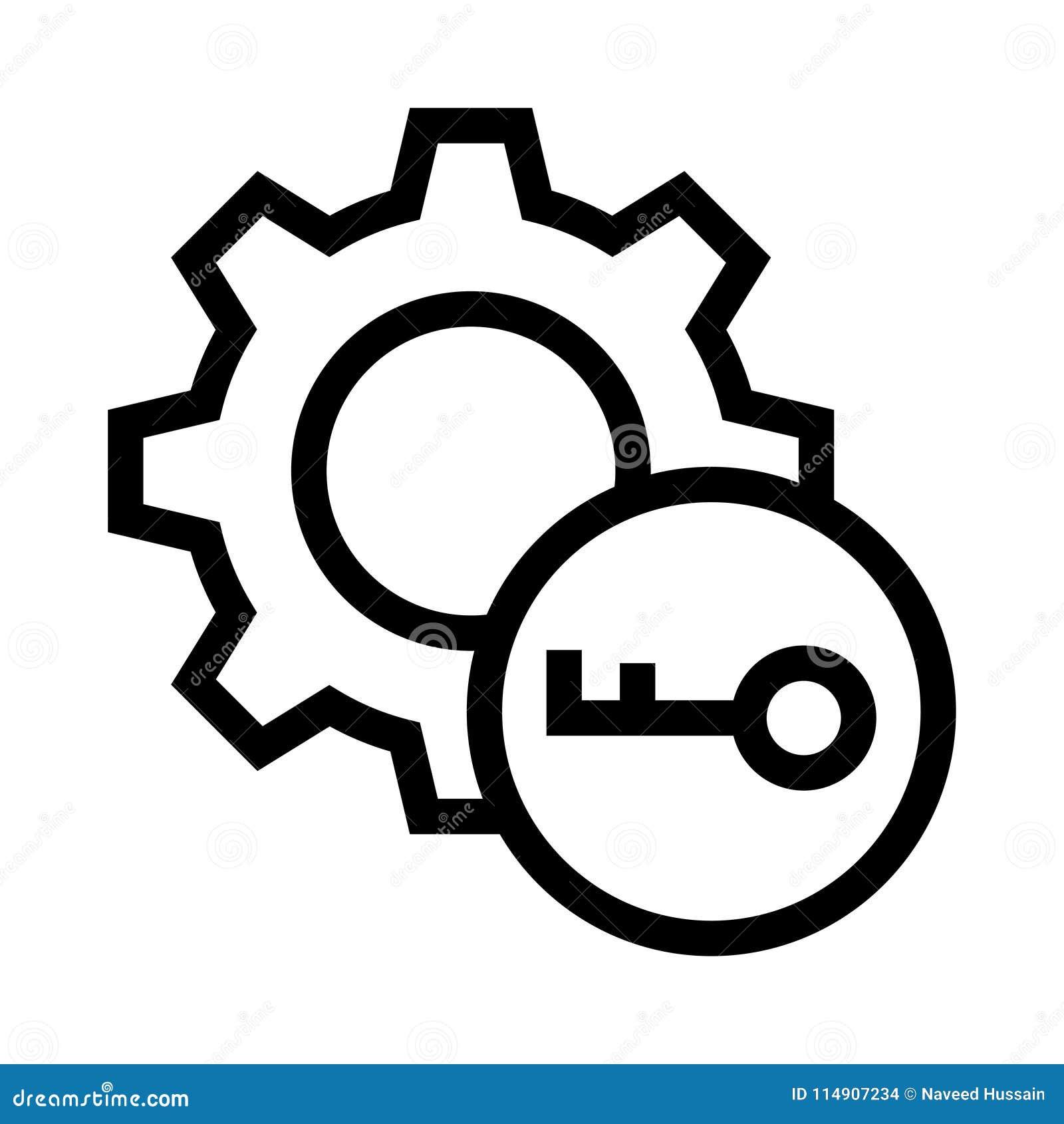 Ключевая линия значок вектора установки