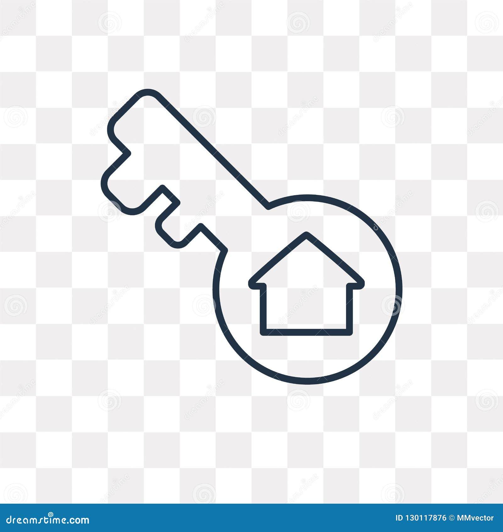 Ключевой значок вектора изолированный на прозрачной предпосылке, линейном ключе t
