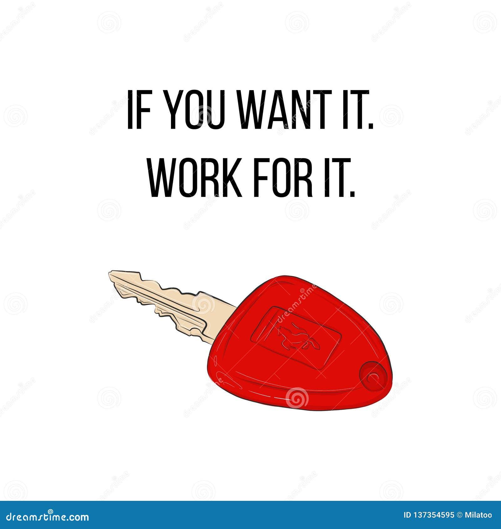Ключи автомобиля вектора красные роскошные с плакатом концепции цитаты Мотивационное оформление возможность себя Автоматический у
