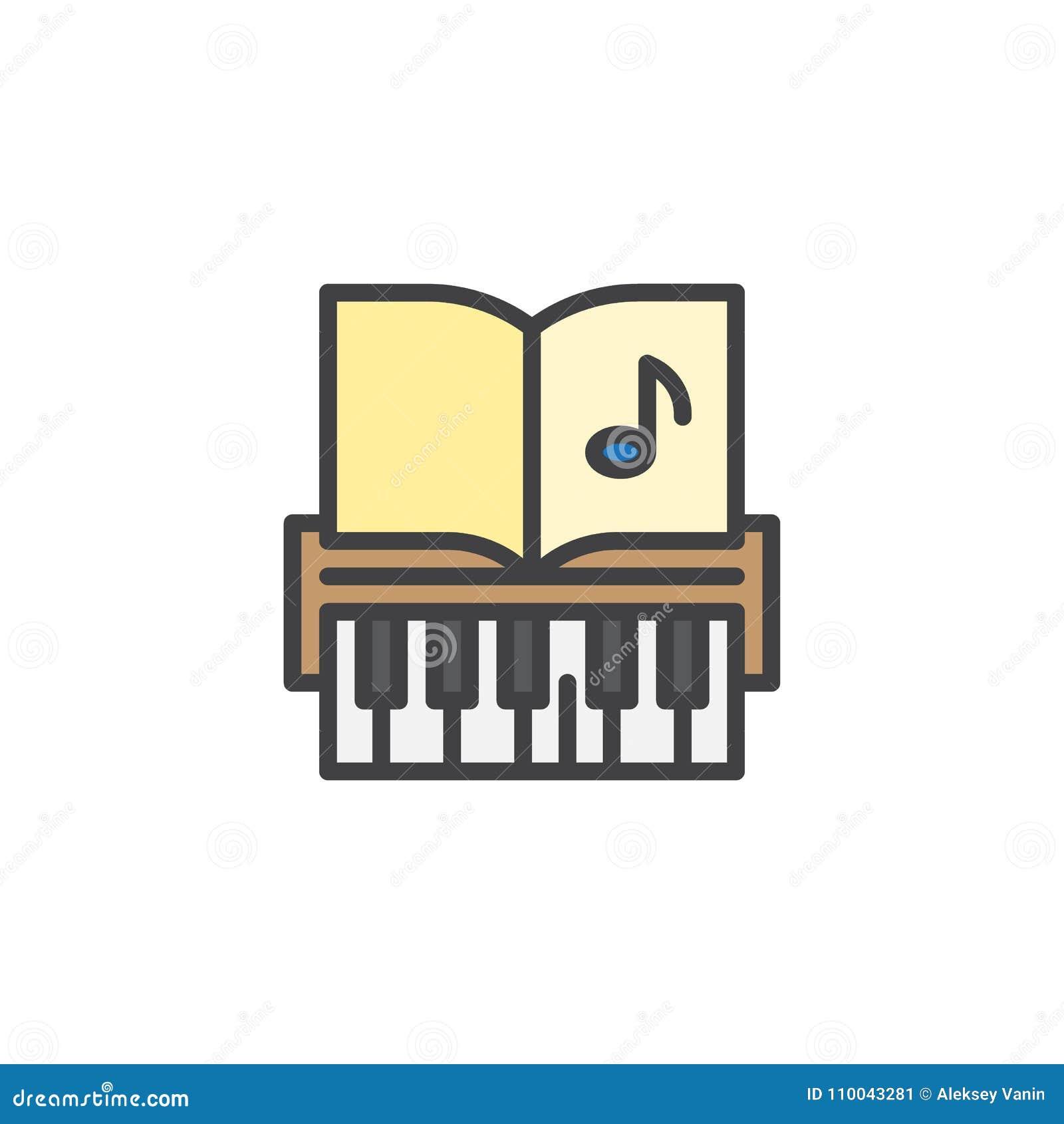 Ключи рояля и примечания музыки заполнили значок плана