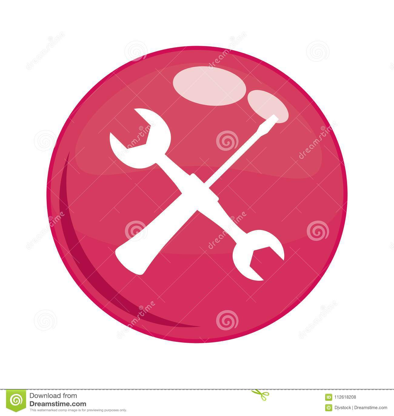 Ключ и отвертка в кнопке