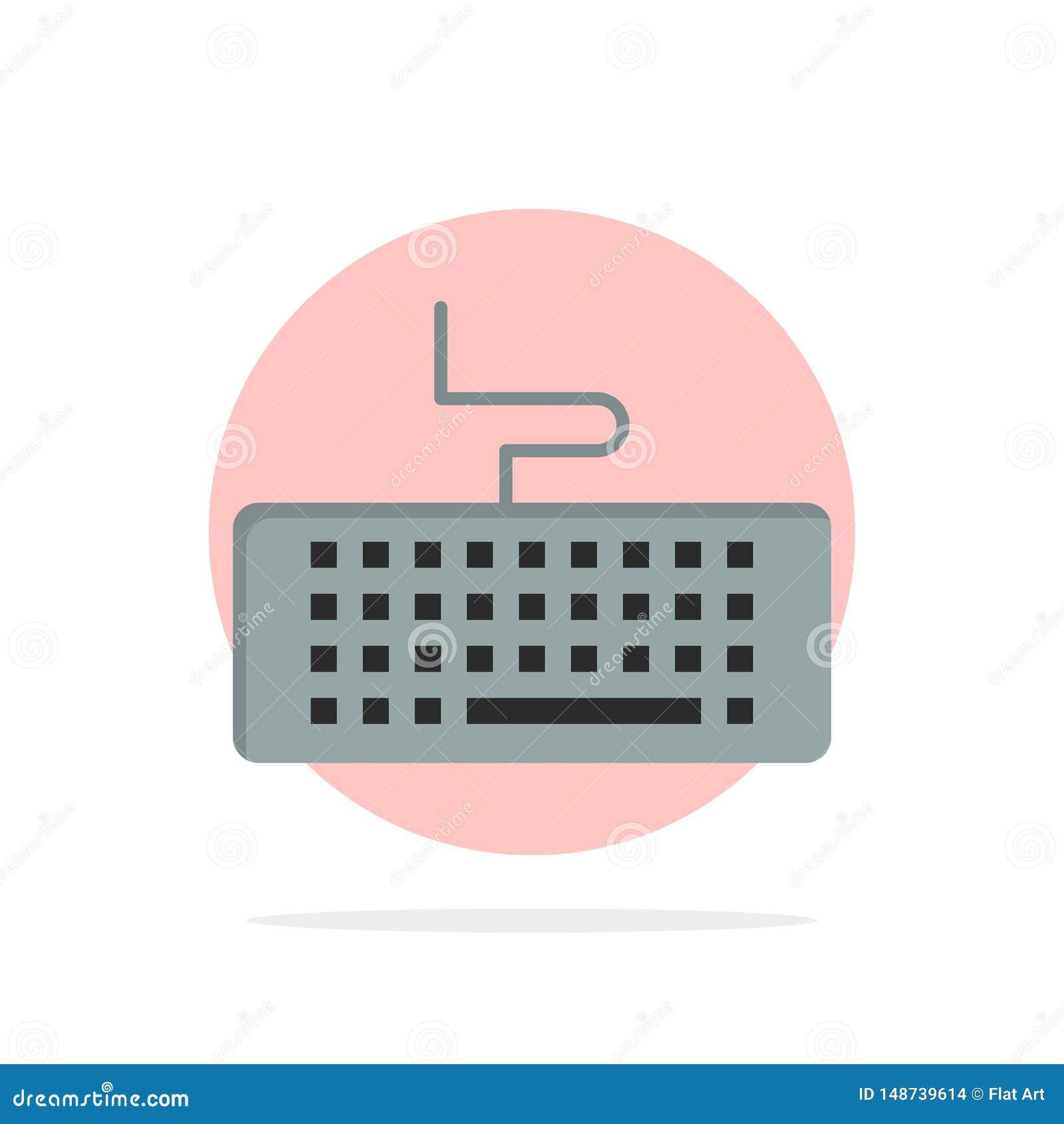 Ключ, клавиатура, оборудование, предпосылки круга образования значок цвета абстрактной плоский