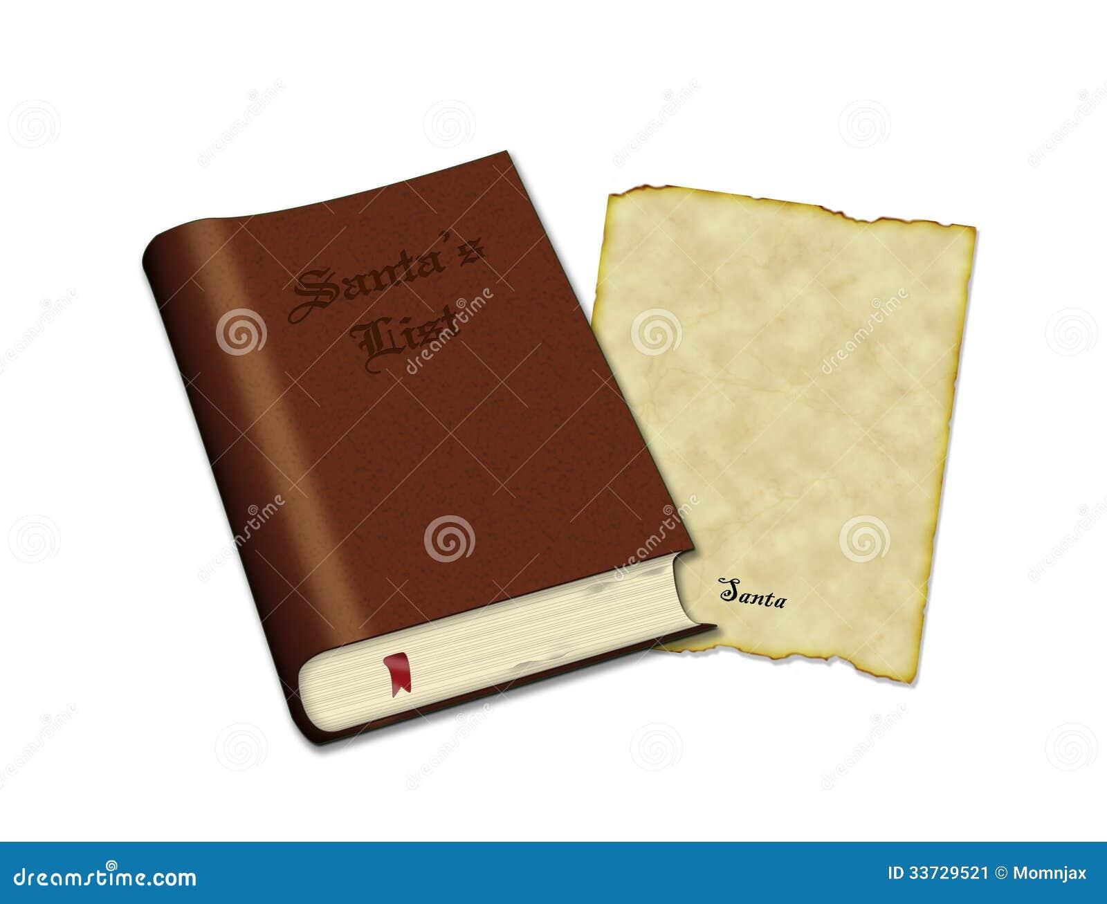 Книга списка Санты и старая пергаментная бумага для письма