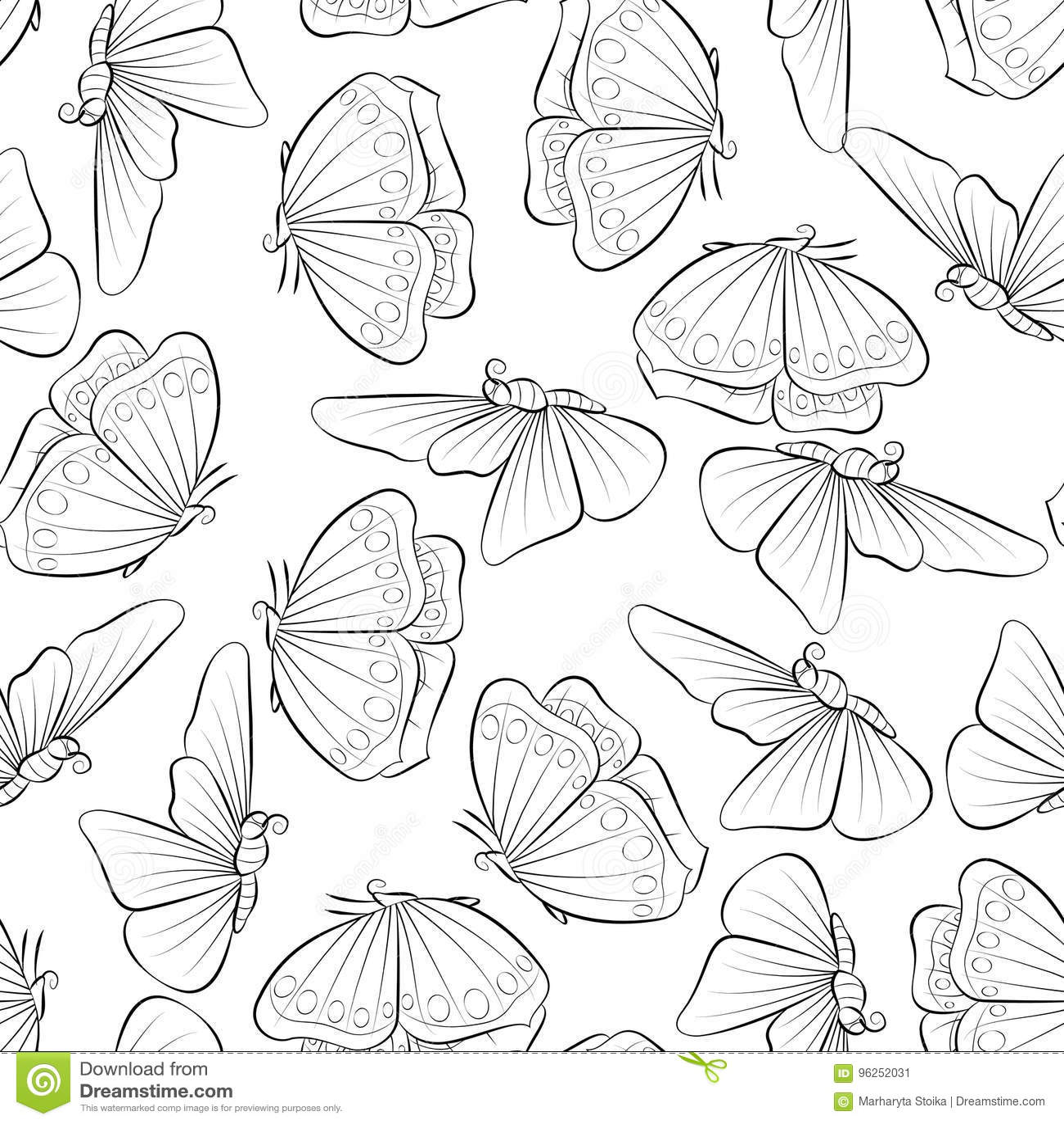 книжка раскраска бабочки безшовная предпосылка картины
