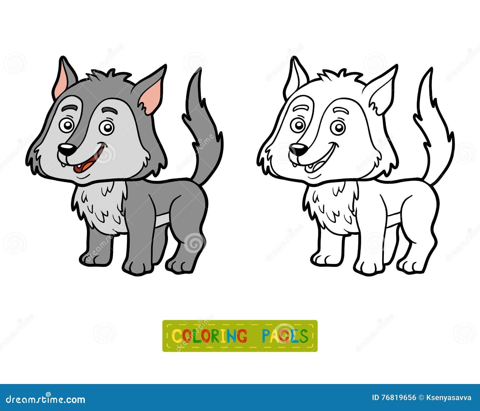 книжка раскраска волк иллюстрация вектора иллюстрации
