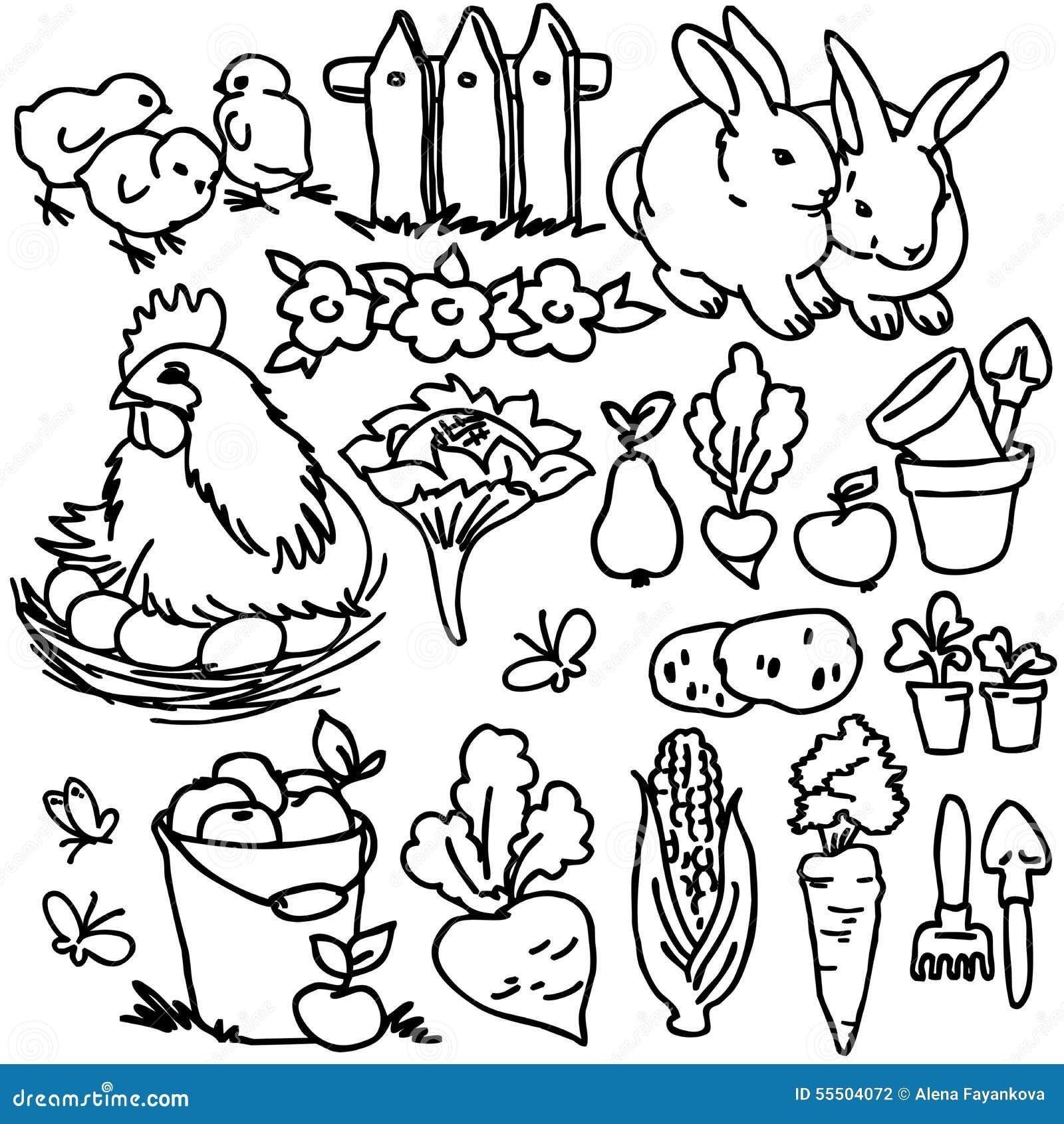 Книжка раскраска животноводческие фермы шаржа Иллюстрация