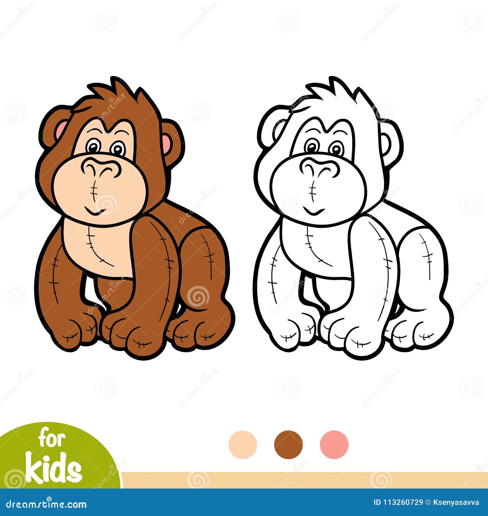 книжка раскраска заполненная горилла игрушки иллюстрация