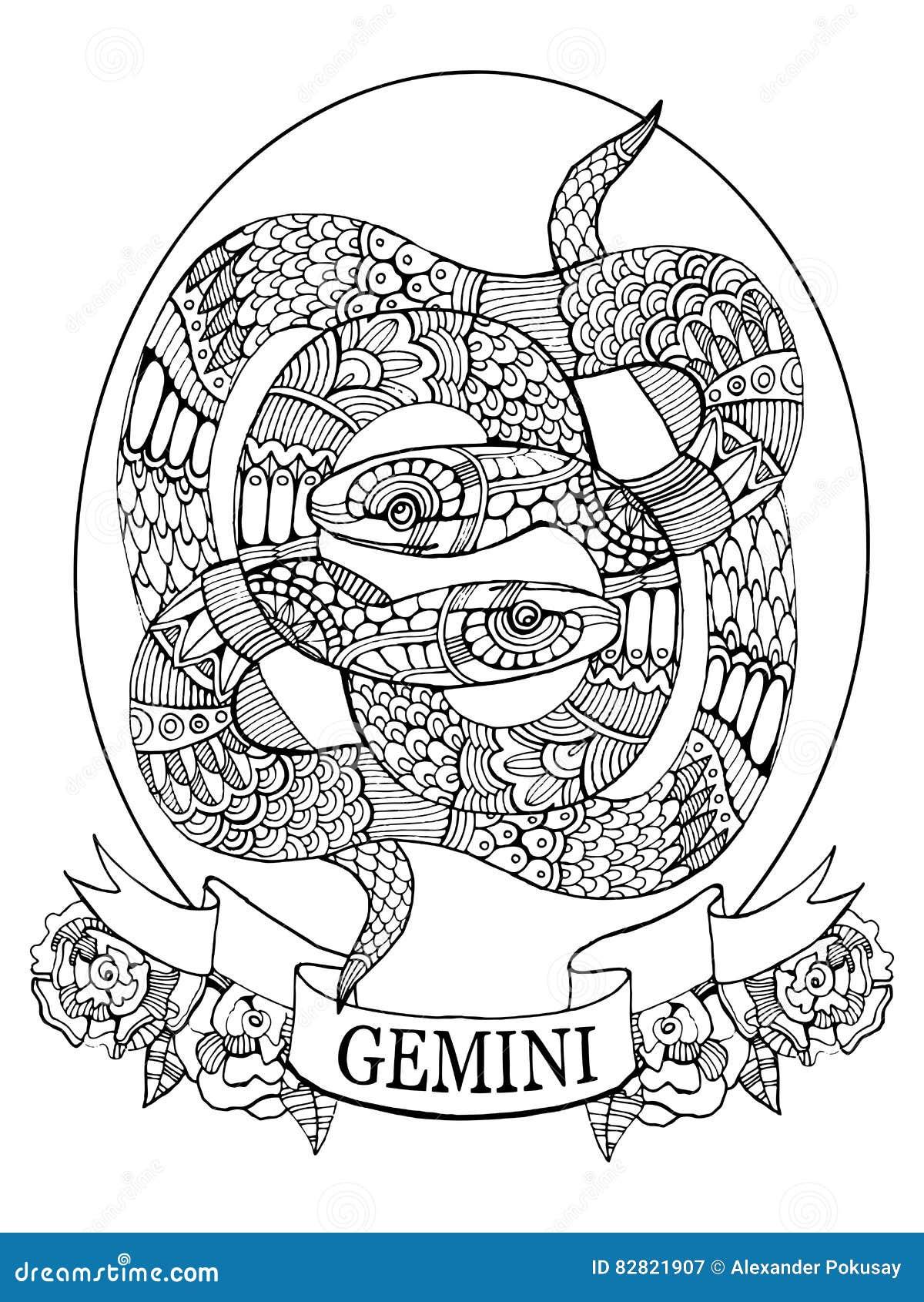 книжка раскраска знака зодиака джемини для вектора взрослых