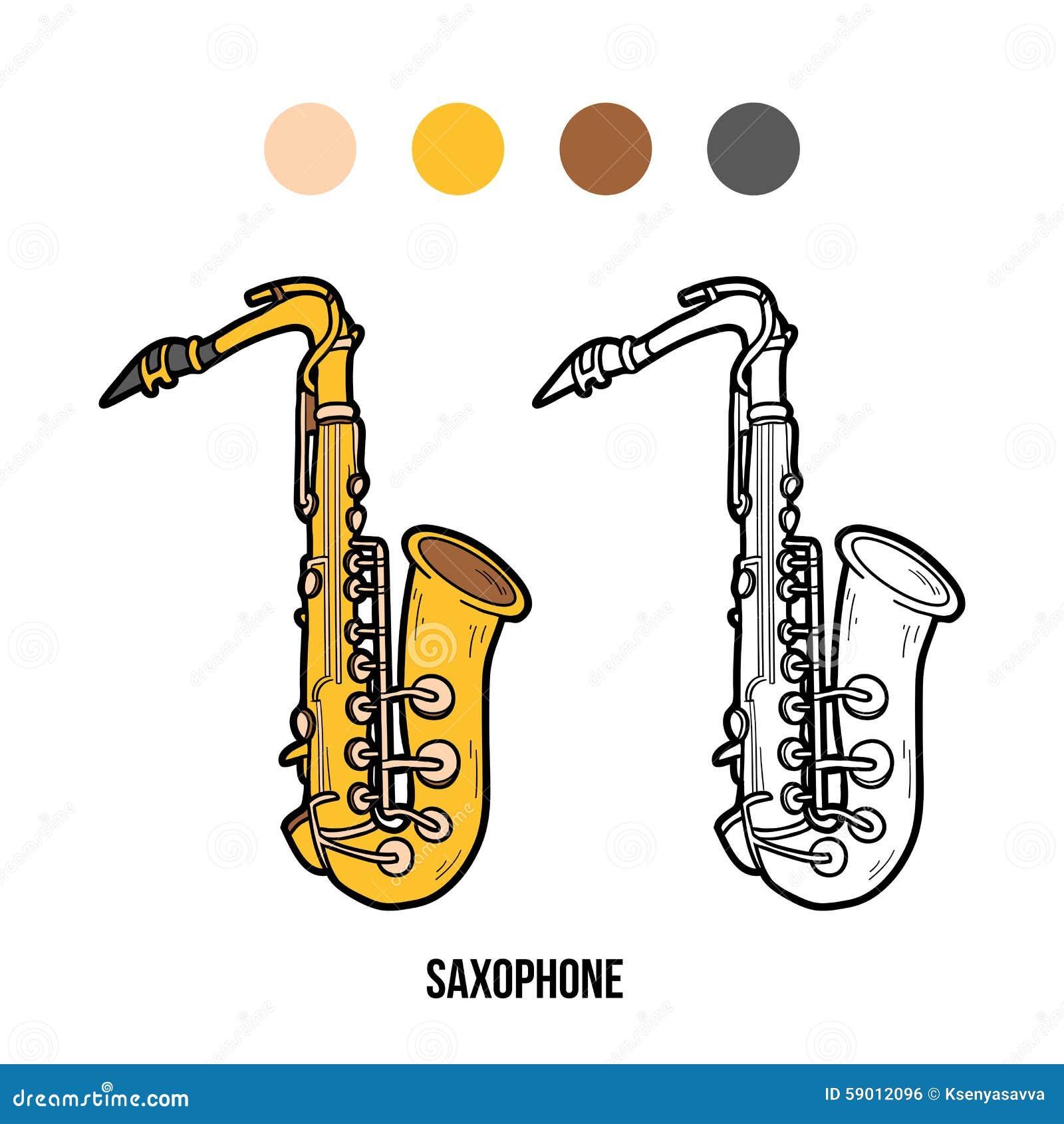 Книжка-раскраска: музыкальные инструменты (саксофон ...