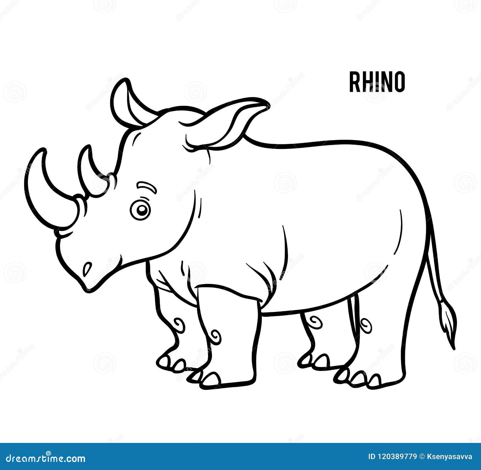 книжка раскраска носорог иллюстрация вектора иллюстрации